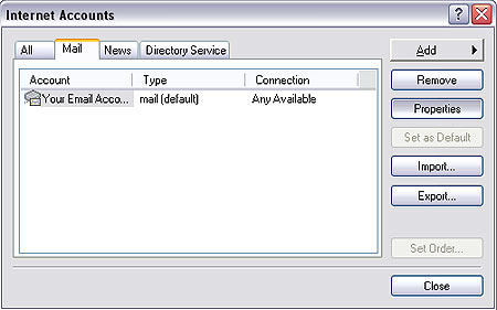 Modify properties of an existing account