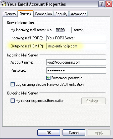 Modify SMTP server information