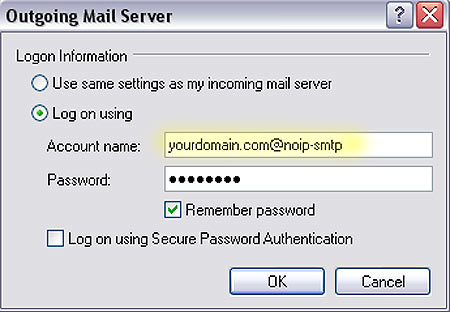 Enter authentication settings for Alternate Port SMTP